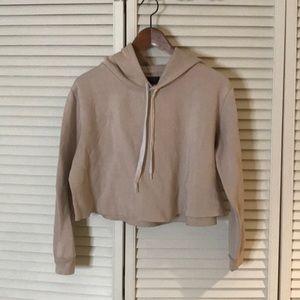 Sweaters - Nude crop hoodie